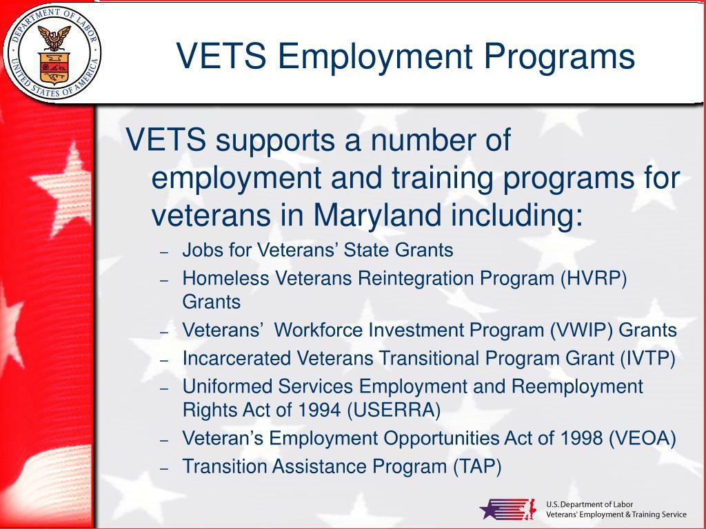 VETS Employment Programs