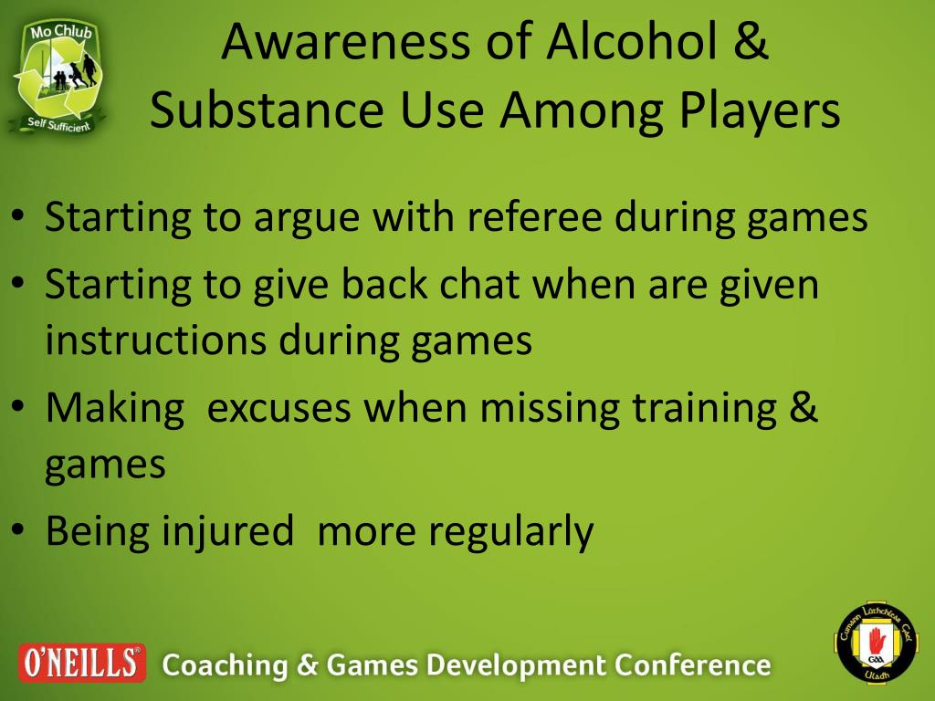 Awareness of Alcohol & Substance Use Among Players