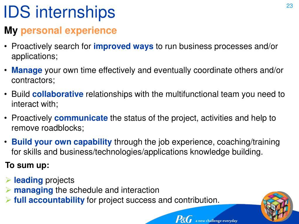 IDS internships