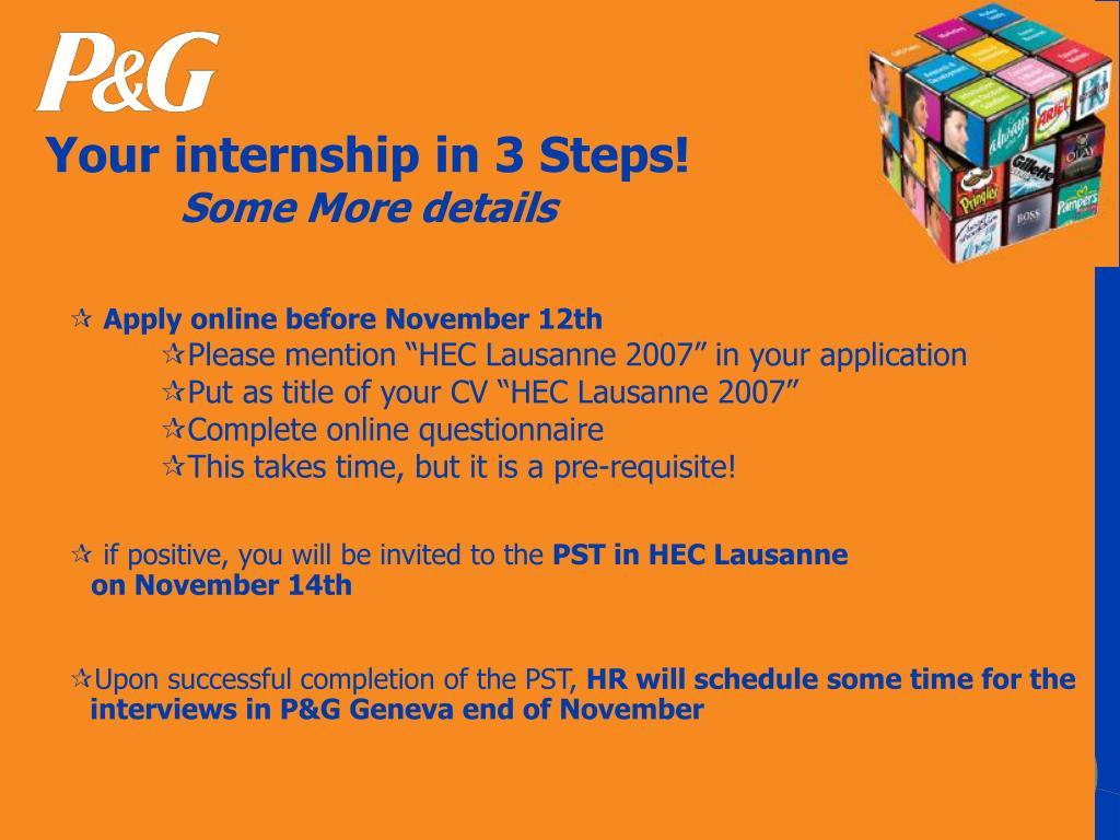 Your internship in 3 Steps!