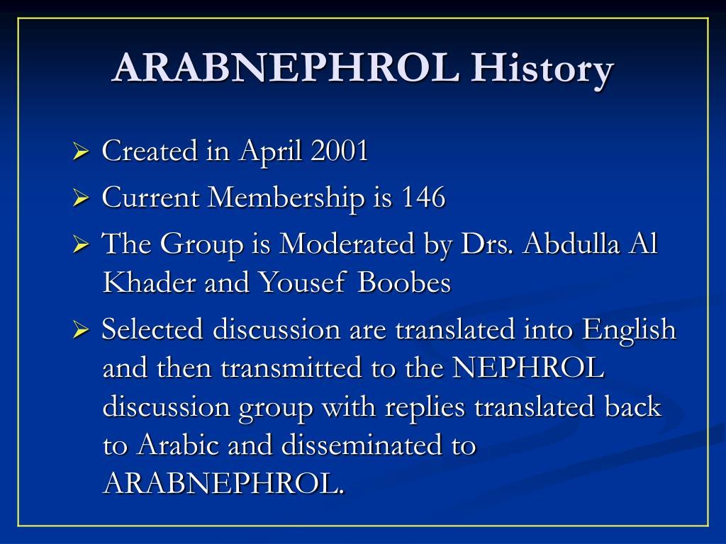 ARABNEPHROL History