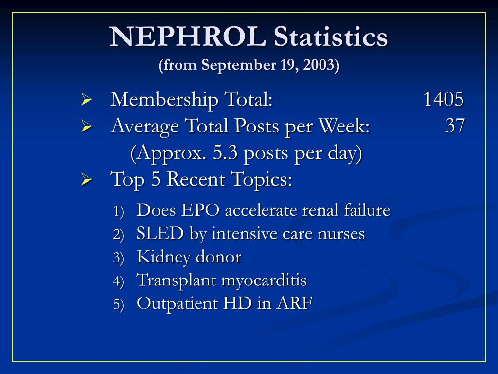 NEPHROL Statistics