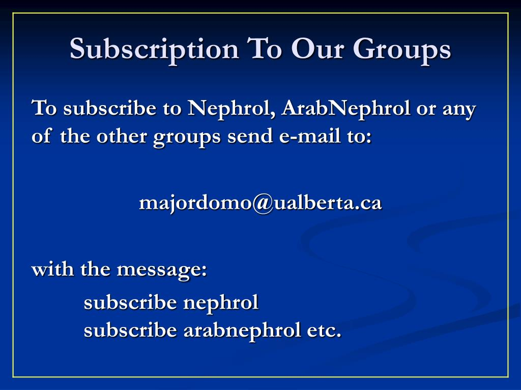 Subscription To Our Groups