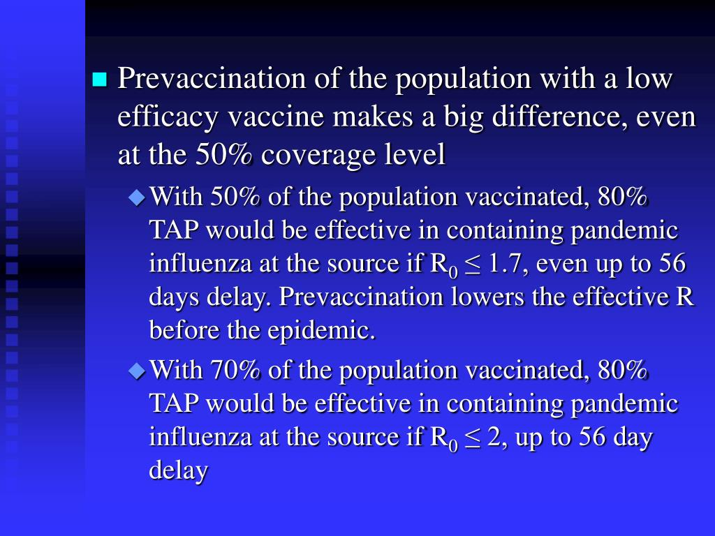 Prevaccination of the population with a low efficacy vaccine makes a big difference, even at the 50% coverage level