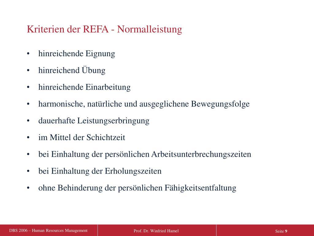 Kriterien der REFA - Normalleistung