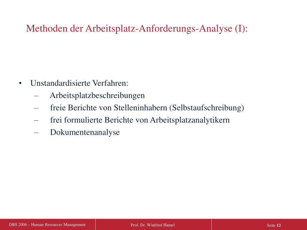 Methoden der Arbeitsplatz-Anforderungs-Analyse (I):