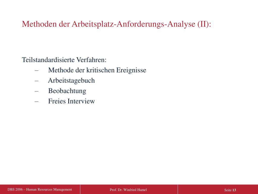 Methoden der Arbeitsplatz-Anforderungs-Analyse (II):
