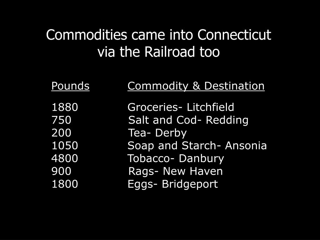Commodities came into Connecticut