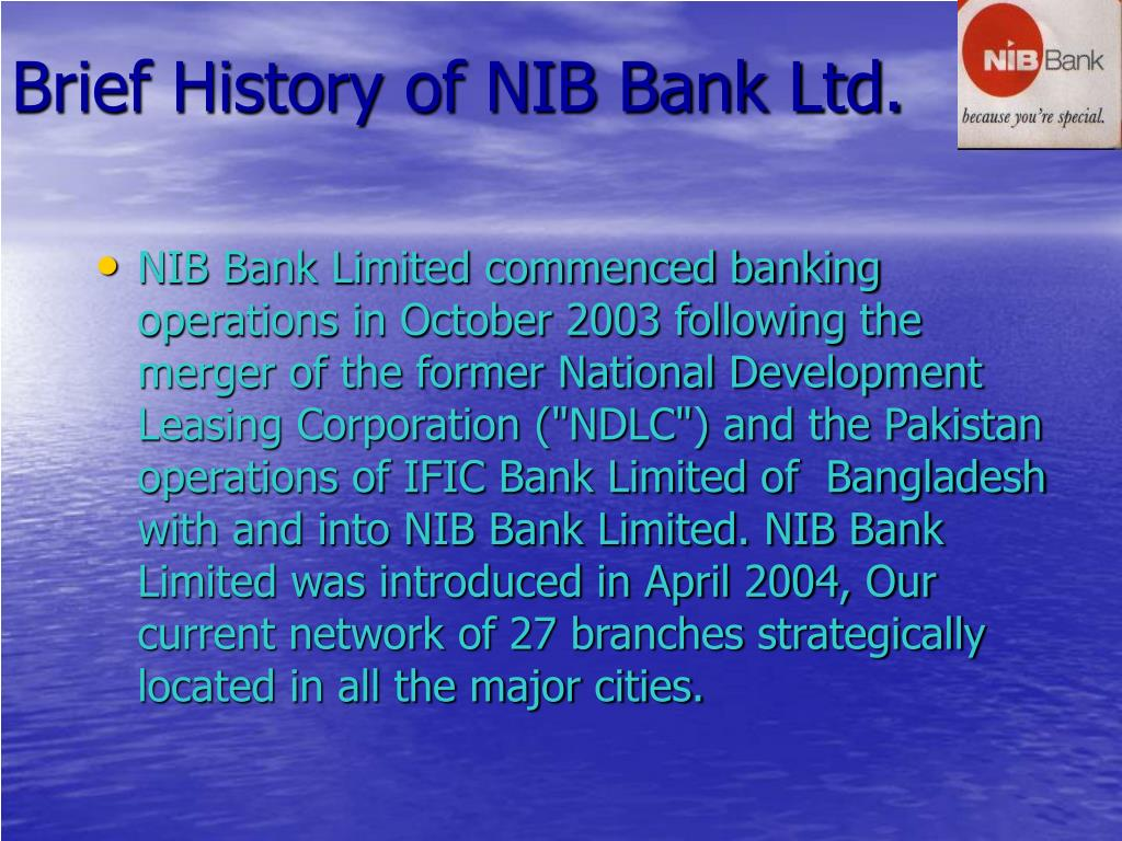 Brief History of NIB Bank Ltd.