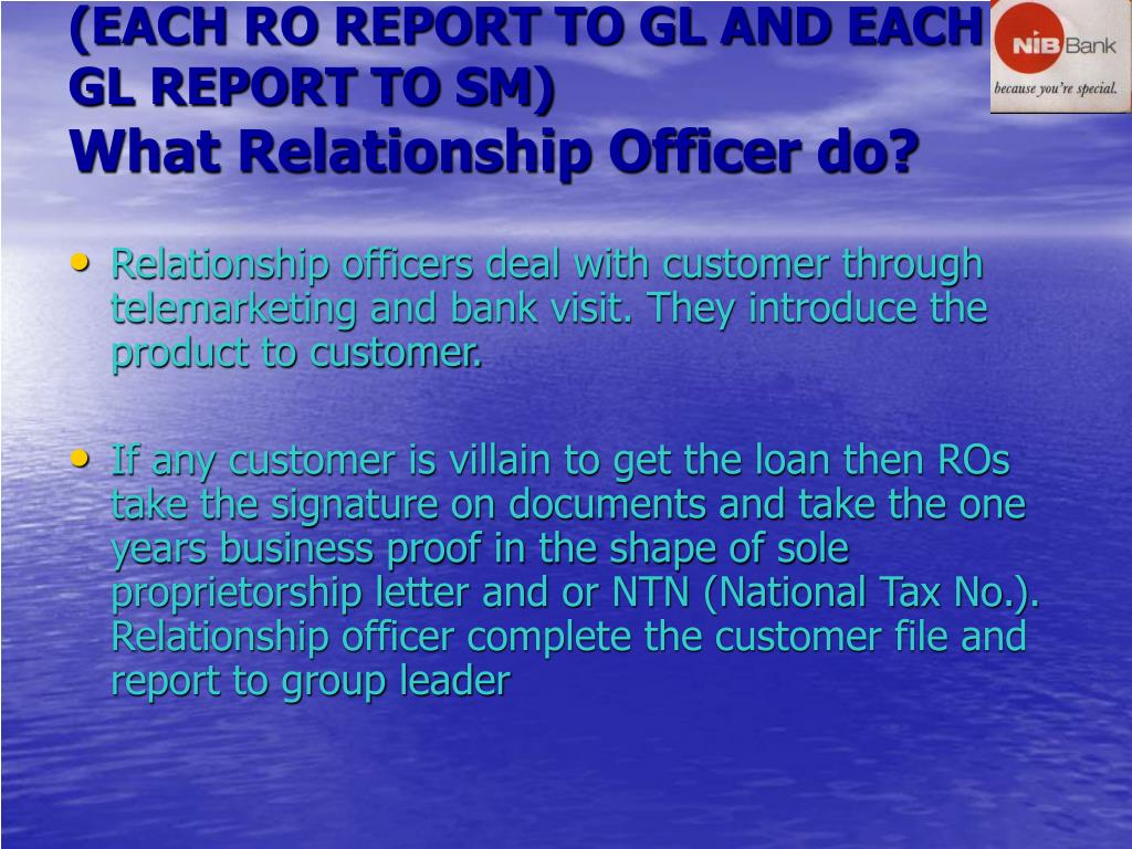 (EACH RO REPORT TO GL AND EACH GL REPORT TO SM)