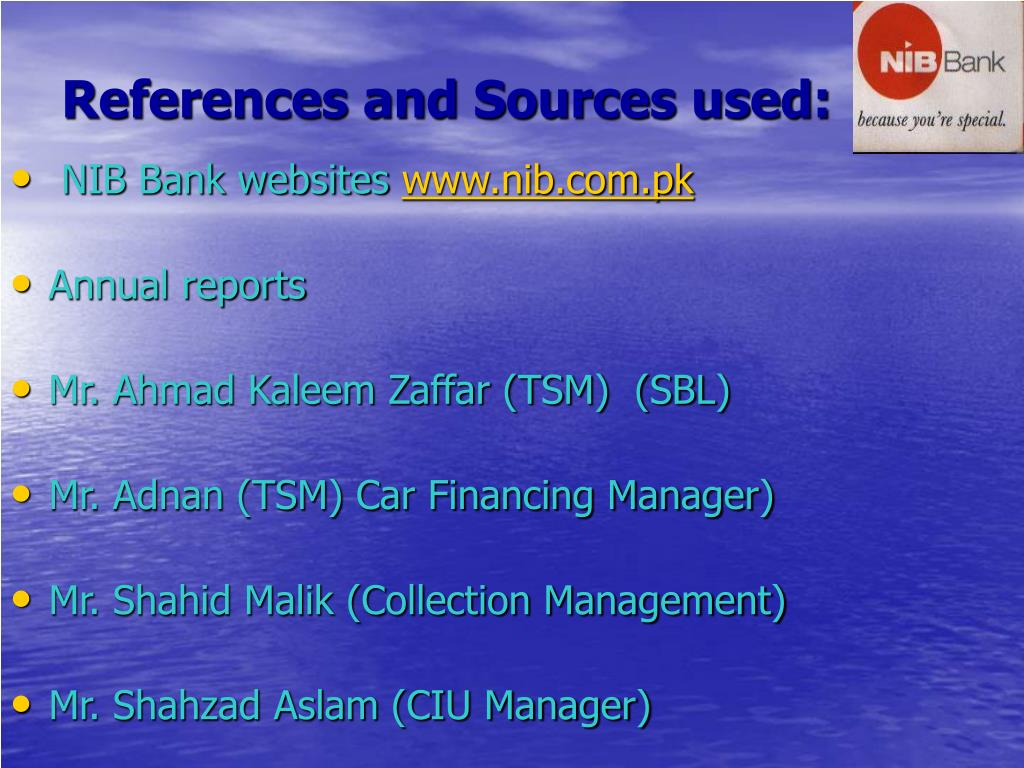 References and Sources used: