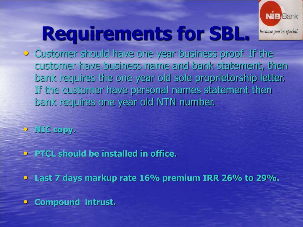 Requirements for SBL.