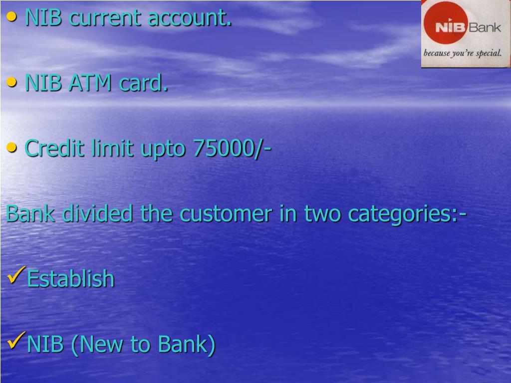 NIB current account.