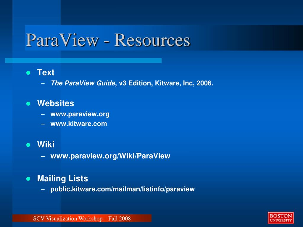 ParaView - Resources