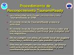 procedimiento de reconocimiento tsunamiready