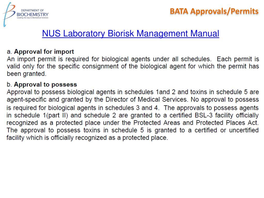 BATA Approvals/Permits
