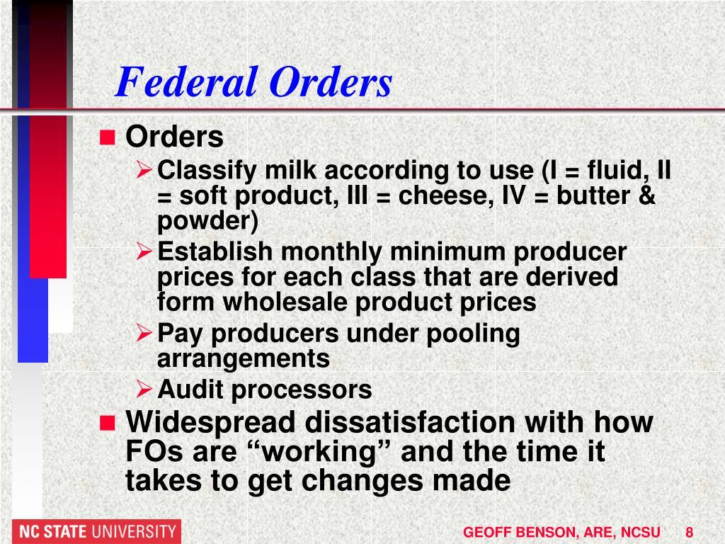 Federal Orders
