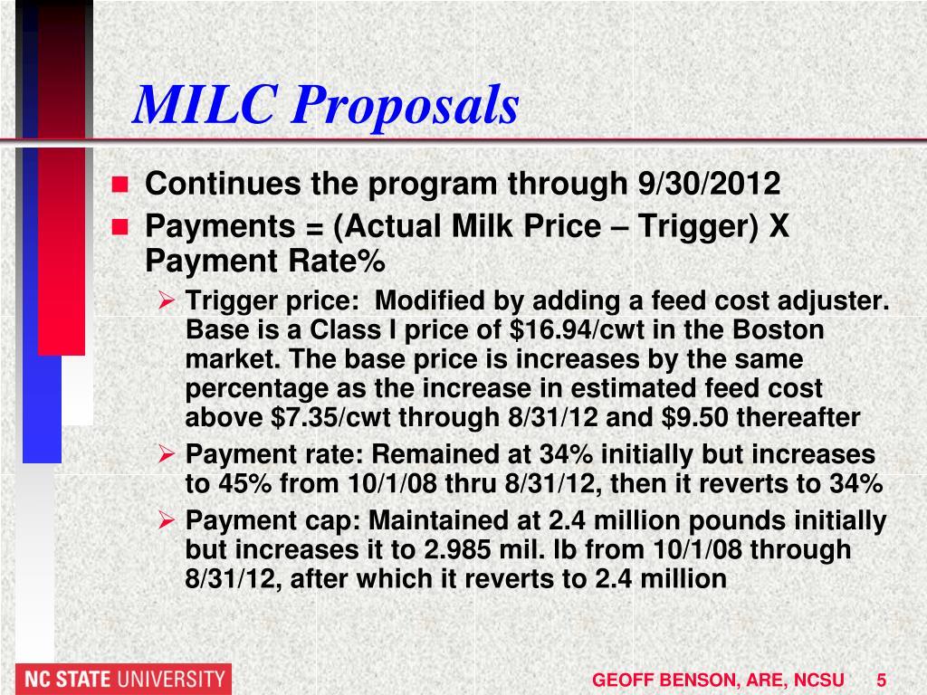 MILC Proposals