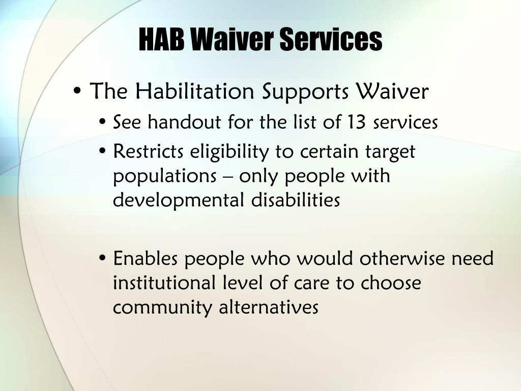 HAB Waiver Services