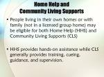 home help and community living supports