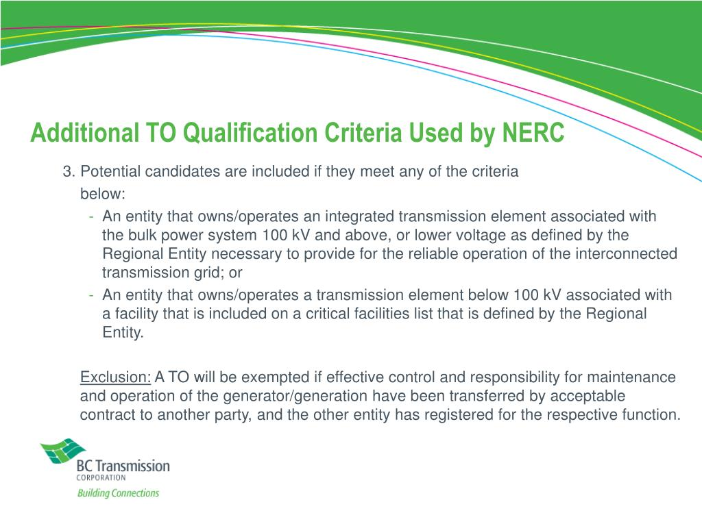 Additional TO Qualification Criteria Used by NERC