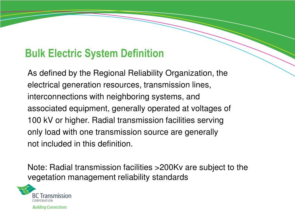 Bulk Electric System Definition