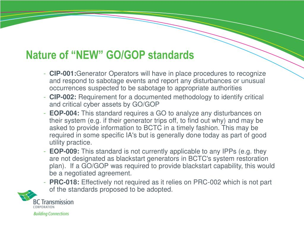 """Nature of """"NEW"""" GO/GOP standards"""