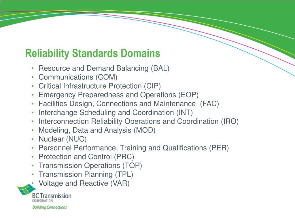 Reliability Standards Domains
