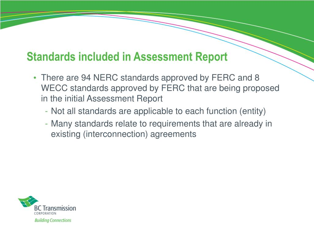 Standards included in Assessment Report