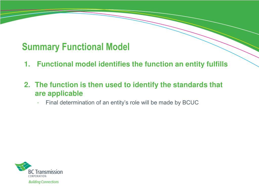 Summary Functional Model