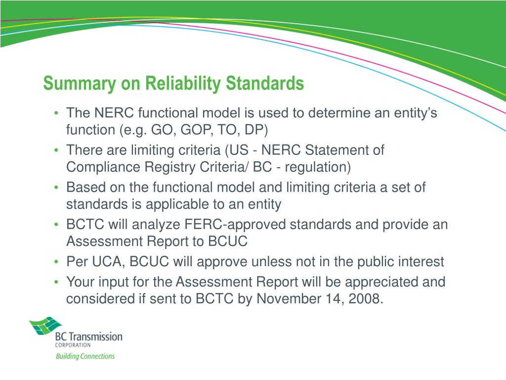 Summary on Reliability Standards