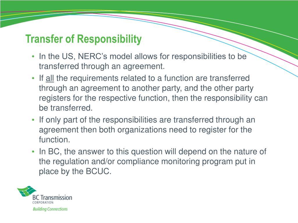Transfer of Responsibility