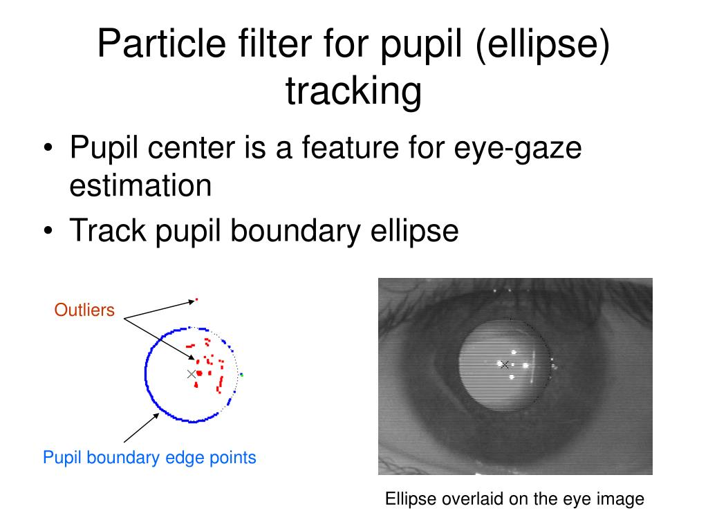 Particle filter for pupil (ellipse) tracking