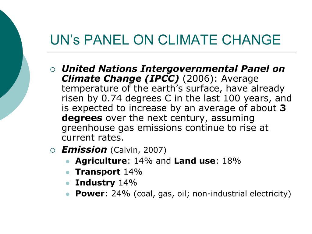UN's PANEL ON CLIMATE CHANGE