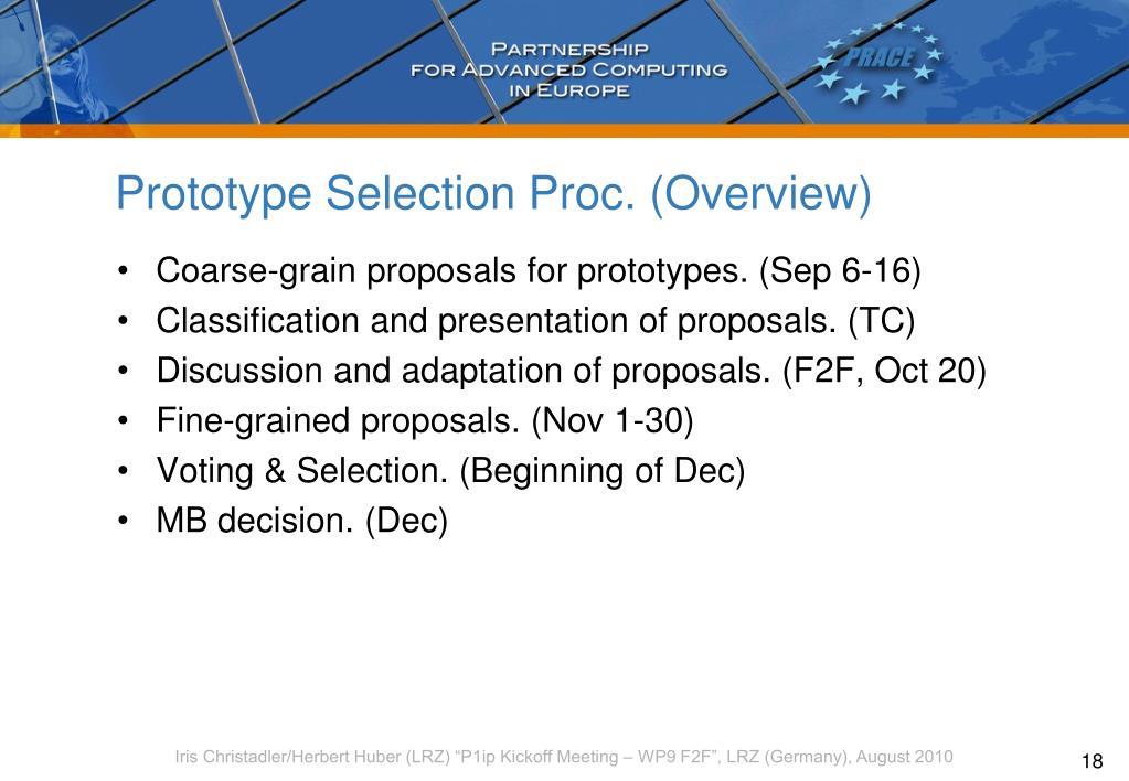 Prototype Selection Proc. (Overview)