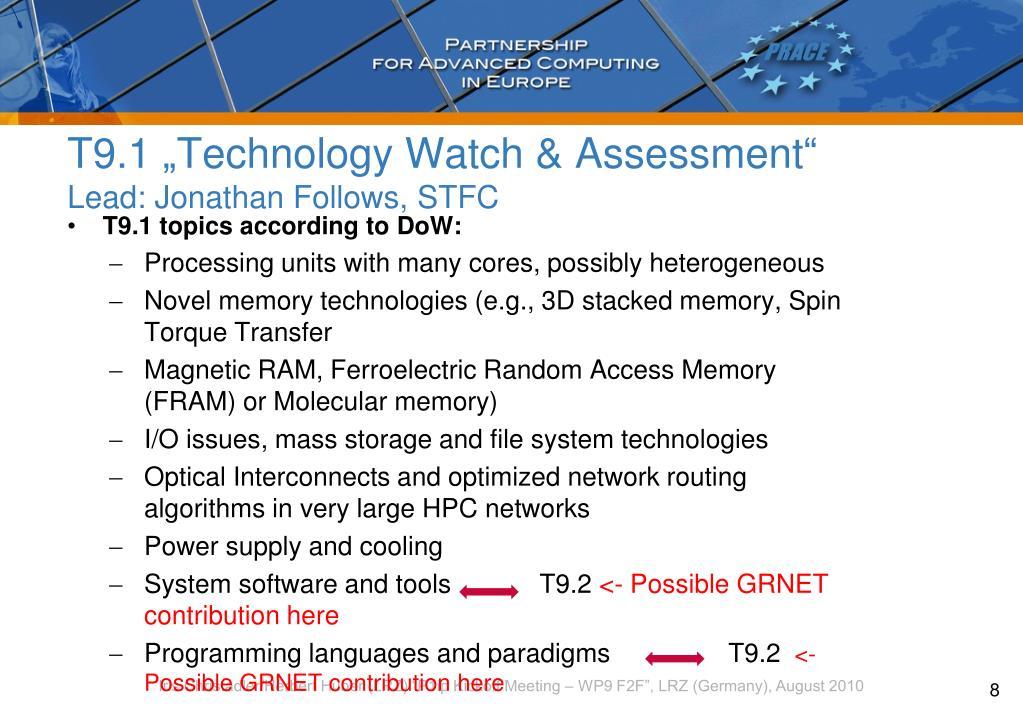 """T9.1 """"Technology Watch & Assessment"""""""