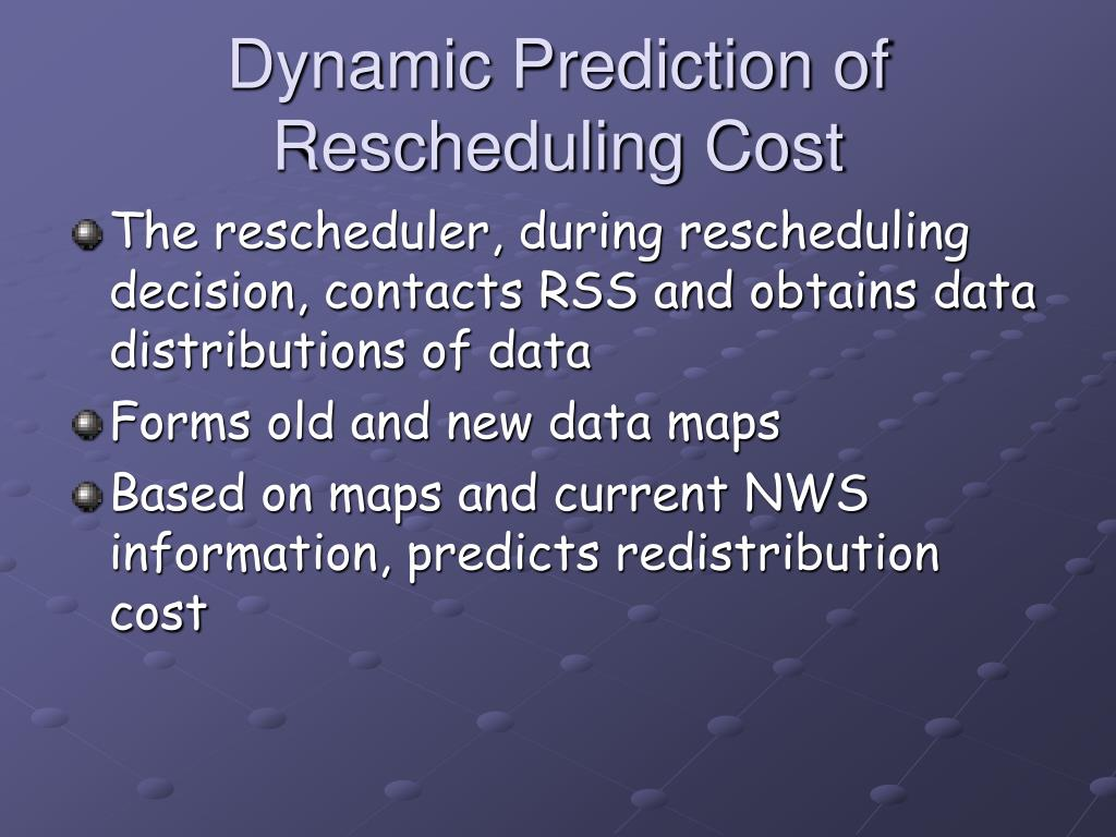 Dynamic Prediction of Rescheduling Cost