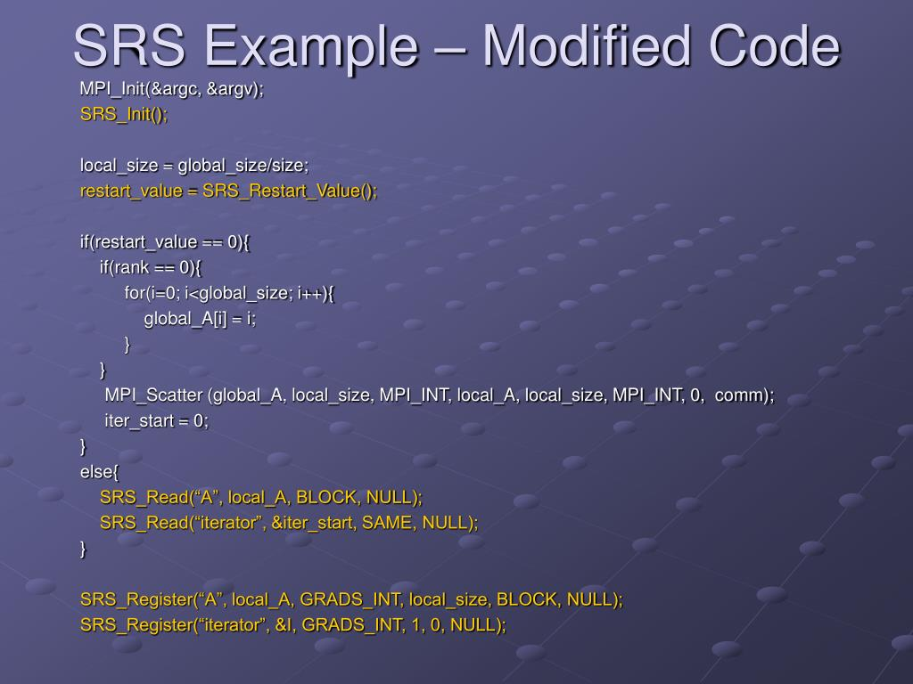 SRS Example – Modified Code
