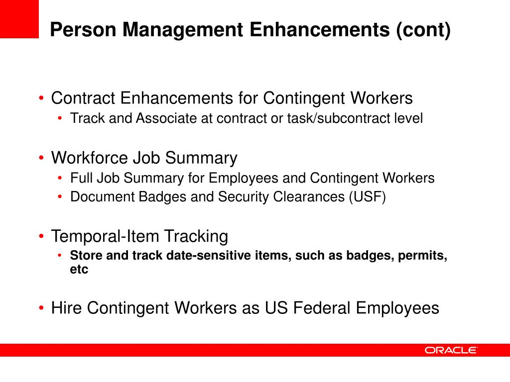 Person Management Enhancements (cont)