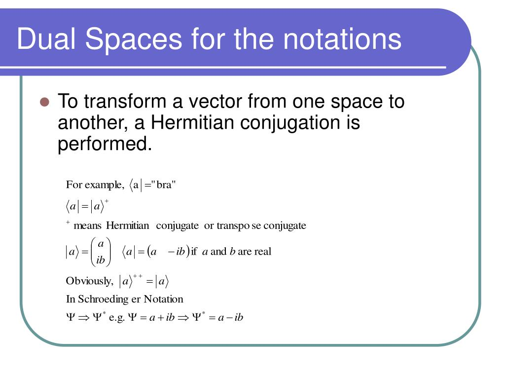Dual Spaces for the notations