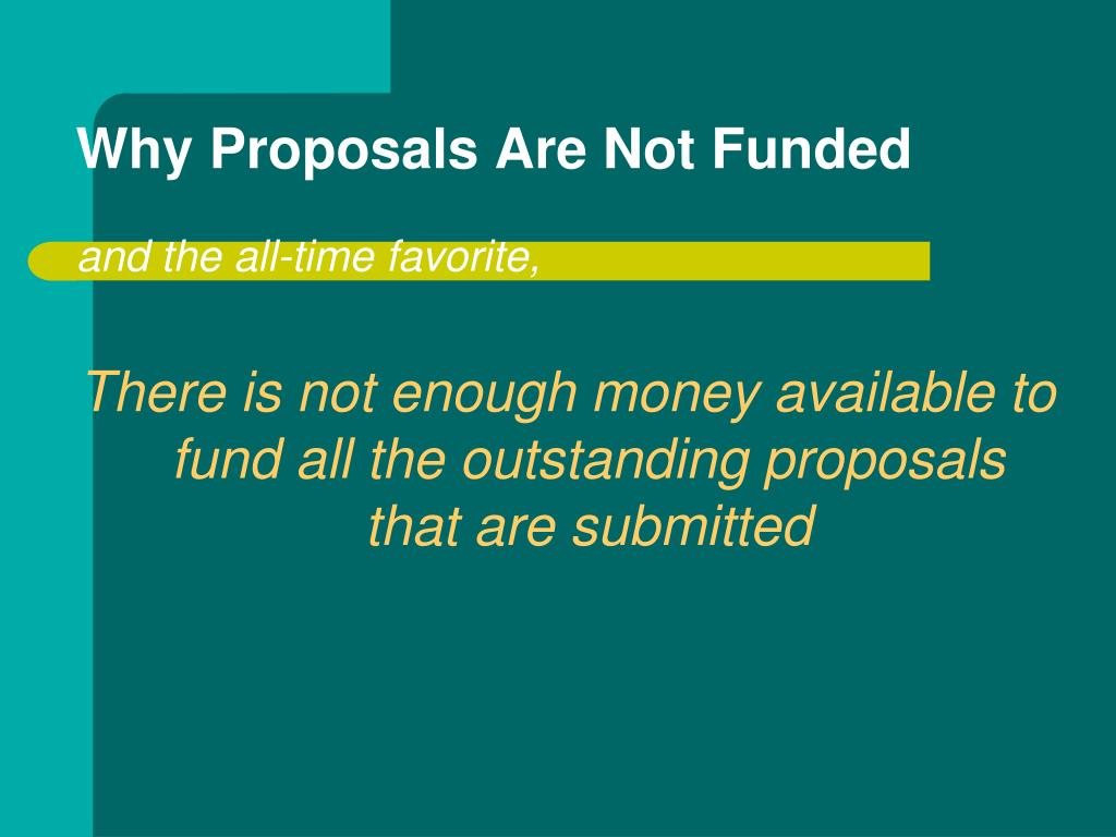 Why Proposals Are Not Funded