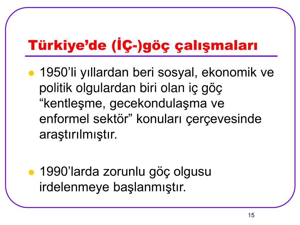 Türkiye'de (İÇ-)göç çalışmaları