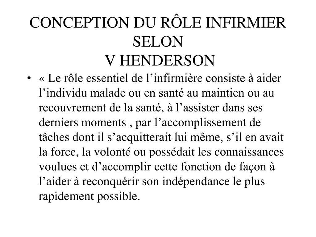 CONCEPTION DU RÔLE INFIRMIER SELON