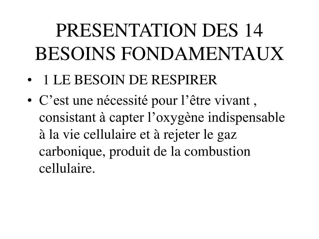 PRESENTATION DES 14 BESOINS FONDAMENTAUX