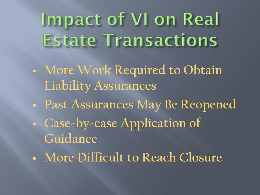 Impact of VI on Real Estate Transactions
