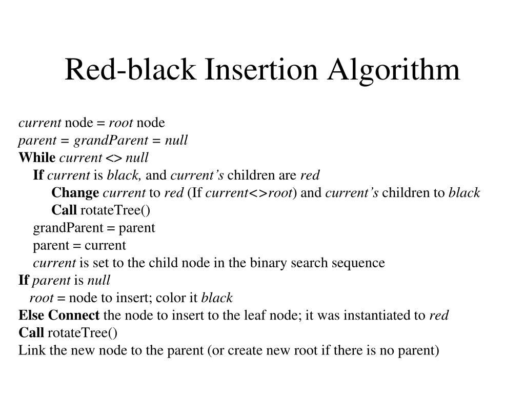 Red-black Insertion Algorithm