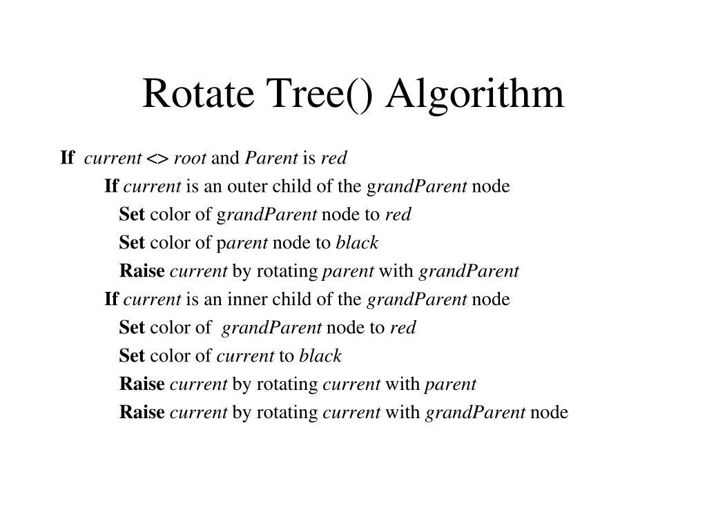 Rotate Tree() Algorithm