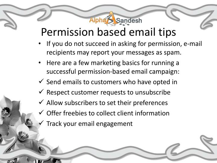 Permission based email tips