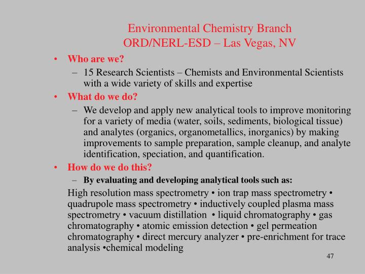 Environmental Chemistry Branch
