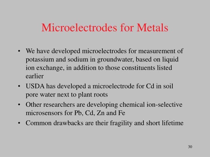 Microelectrodes for Metals